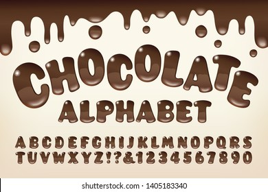 A chocolate syrup styled alphabet with gooey melted drips and rounded letter shapes