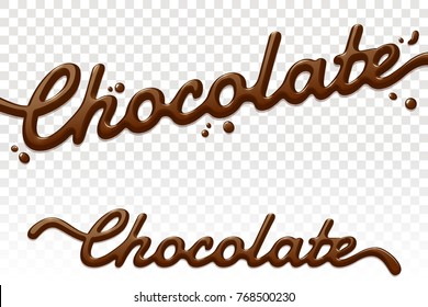 Chocolate text isolated on transparent background. Chocolate hand drawn lettering. Cream splashes. Vector design element for advertising, packaging, poster, menu. Eps 10.