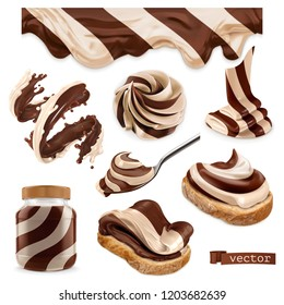 Chocolate and vanilla. 3d vector realistic icon set