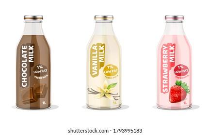 Chocolate, Vanilla, Strawberry Milk Bottles. Vector Illustration.