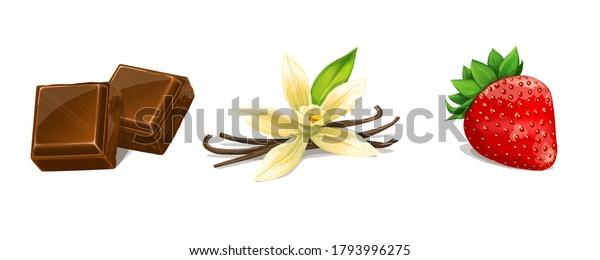 Chocolate, Vanilla, Strawberry. Vector Illustration.