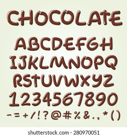 Chocolate vector alphabet. Sweet ABC letters, hand-made font.