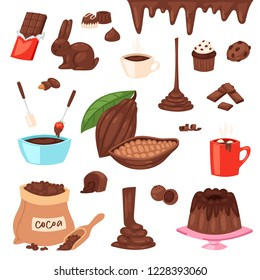 Chocolate vector cartoon cocoa choco sweet food from cocoa-beans cake confection illustration set of tropical fruit and cacao beverage in cup with chocolate rabbit isolated on white background