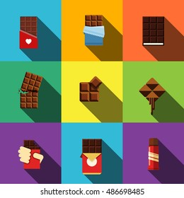 Chocolate vector flat icons. Simple illustration set of 9 chocolate elements, editable icons, can be used in logo, UI and web design