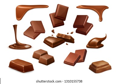 Chocolate vector icons, isolated.