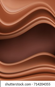 chocolate vertical background with soft creamy waves as borders on brown. vector illustration
