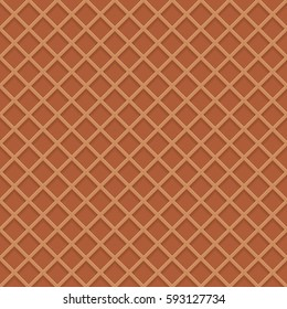 Chocolate wafer background. Waffles pattern. Texture of sweet and delicious food. Vector illustration. EPS 10.