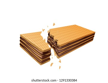 Chocolate wafer breaking, on a white background. Vector illustration