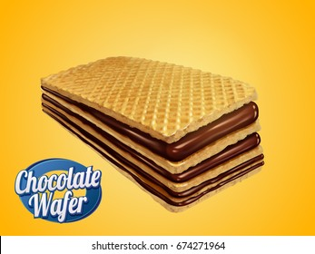 Chocolate wafer design element, crunchy cookie with chocolate syrup fillings isolated on yellow background in 3d illustration