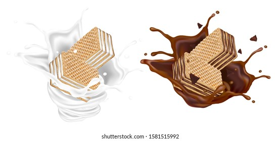 Chocolate wafer and Milk splashing in the middle isolated on white background, Vector realistic in 3d illustration. Food concept.