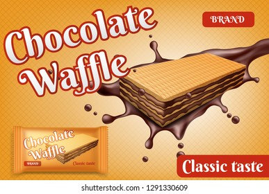 Chocolate wafer on a yellow background. Vector illustration