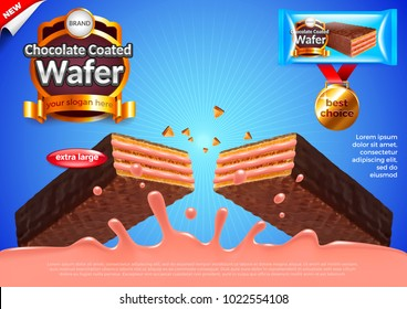 Chocolate wafer with strawberry cream ads. 3d illustration and packaging