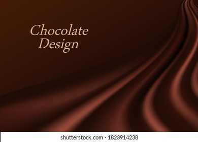 Chocolate wave background. Dark brown creamy chocolate, shiny silk  texture. Smooth color flow effect. Abstract vector background for elegant modern poster or banner.