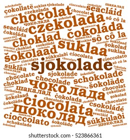 Chocolate. Word cloud in different languages, square, white background. Food concept.