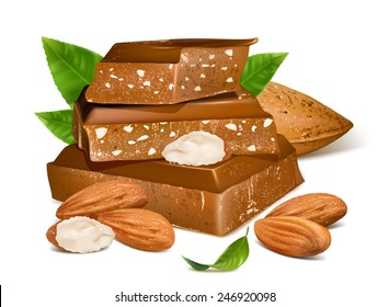 Chocolates with almonds. Vector illustration.
