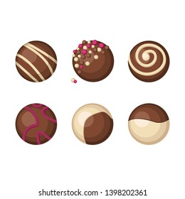 Chocolates candies with various decorations and sprinkles. Isolated elements on a white background. Brown color.- Vector