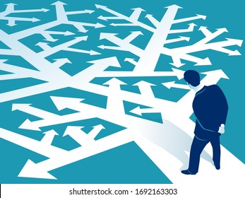 Choice. A businessman looks at many arrows and selects the path. Business vector illustration