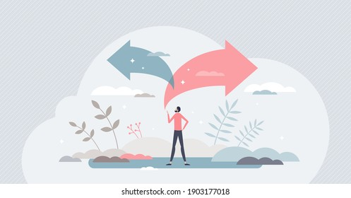 Choice decision making as two split path options to choose from tiny person concept. Business or life strategy confusion and opportunity doubt vector illustration. Future direction concern or struggle