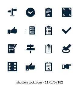 Choice icon. collection of 16 choice filled icons such as dice, pointing, tick, thumb up, clipboard, direction, checklist. editable choice icons for web and mobile.