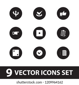 Choice icon. collection of 9 choice filled icons such as dice, pointing, arrow, clipboard, tick, thumb up. editable choice icons for web and mobile.
