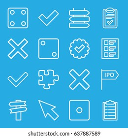 Choice icons set. set of 16 choice outline icons such as direction   isolated, dice, puzzle, clipboard, checklist, direction, tick, cross, pointer