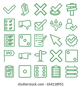 Choice icons set. set of 25 choice outline icons such as direction   isolated, dice, pointing, clipboard, check list, dislike, checklist, tick, add user, direction, cross
