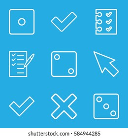 choice icons set. Set of 9 choice outline icons such as Dice, check list, tick, checklist, cross