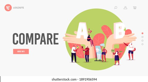 Choice, Pros and Cons Landing Page Template. People Make Important Decision. Tiny Characters at Huge Hands with A and B Comparison, Choose Advantages and Disadvantages. Cartoon Vector Illustration