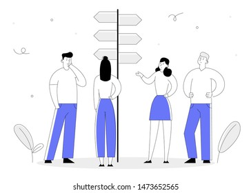 Choice Way Concept with Business People Stand at Road Pointer with Hard and Easy Directions, Making Decision what Path to Choose. Crossroad, Challenge Cartoon Flat Vector Illustration Line Art Style