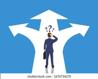 Choice way concept. Businessman before choosing. Crossroads arrows. Decide direction. Human standing choice of ways. Vector illustration flat style