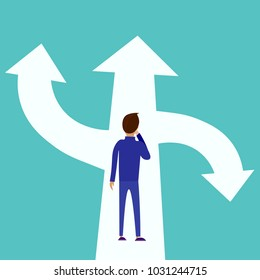 Choice way concept. Decision business metaphor. Vector flat style design. Isolated on background. Businessman before choosing. Crossroads arrows. Decide direction.