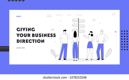 Choice Way Concept Website Landing Page. Business People Stand at Road Pointer with Hard Making Decision what Path to Choose. Crossroad, Challenge Web Page Banner. Cartoon Flat Vector Illustration