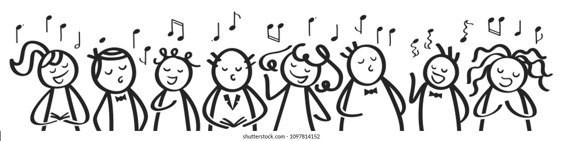 Choir, banner, funny men and women singing, black and white stick figures sing a song isolated on white background