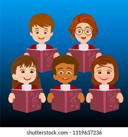 Choir of boy singing carols
