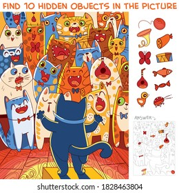 Choir of cats with a cat conductor. Find 10 hidden objects in the picture. Puzzle Hidden Items. Funny cartoon character