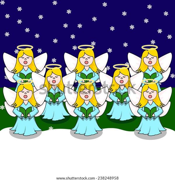Christmas Caroling Images.Choir Christmas Caroling Angel Blue Dress Stock Vector Royalty Free