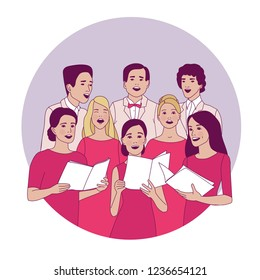 Choir, ensemble on the stage. Concert.  Singing people. Vocalists, classical music. Vector illustration.