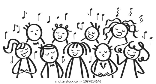Choir, funny men and women singing, black and white stick figures sing a song isolated on white background