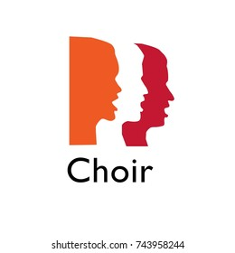 Choir logo. Singing people, music.