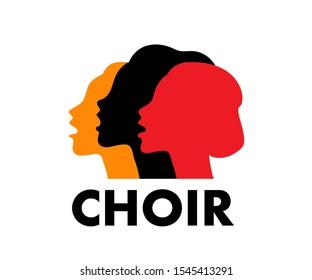 Choir logo vector illustration. Singing people, music. Music, singing, worship concept.