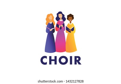 Choir logo vector template. Group of multicolor people singing. Female flat cartoon characters singing vector illustration isolated on white background.