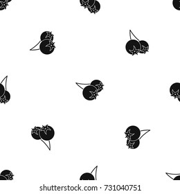 Chokeberry or aronia berry pattern repeat seamless in black color for any design. Vector geometric illustration