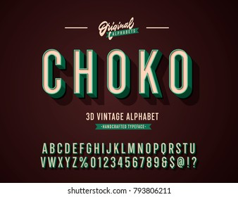 'Choko' Vintage 3D Sans Serif Condensed Alphabet with Rich Colors. Retro Typography. Vector Illustration.