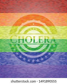 Cholera emblem on mosaic background with the colors of the LGBT flag