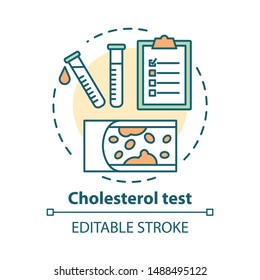 Cholesterol level test concept icon. Checking fat blocked arteries idea thin line illustration. Monitoring atherosclerosis disease symptoms. Vector isolated outline drawing. Editable stroke