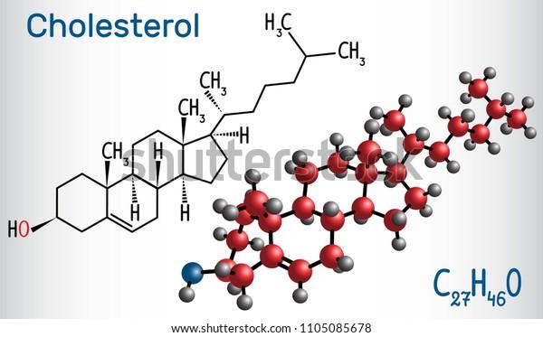 Cholesterol Molecule Structural Chemical Formula Molecule Stock