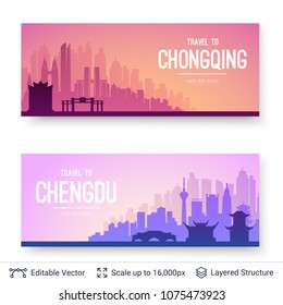 Chongqing and Chengdu famous chinese city scapes. Flat well known silhouettes. Vector illustration easy to edit for flyers or web banners.