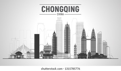 Chongqing China line skyline with panorama in white background. Vector Illustration. Business travel and tourism concept with modern buildings. Image for banner or web site.