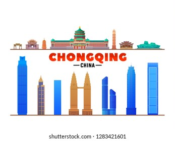 Chongqing China top landmarks at white background. Vector Illustration. Business travel and tourism concept with modern buildings. Image for banner or web site.