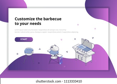 Choose a barbecue for your needs. Modern design concept. Vector illustration for mobile phones, apps, posters and flyers.